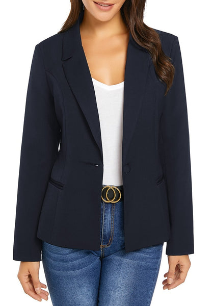 Front view of model wearing navy mock-pocket single-breasted lapel blazer with buttons open