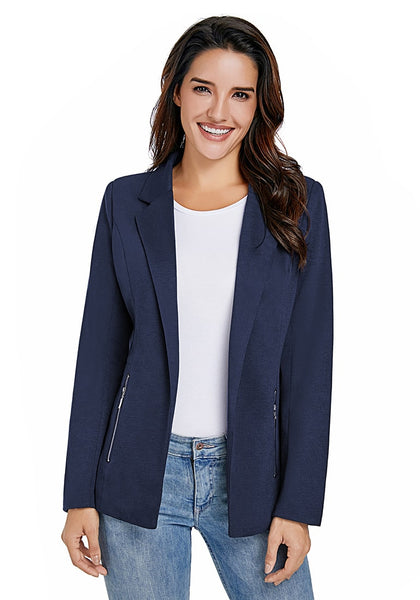 Front view of model wearing navy notched lapel side zip blazer