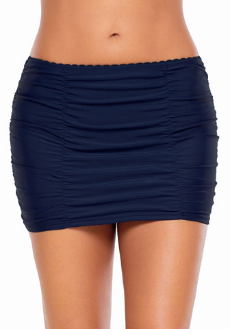Navy Scallop Ruched Skirted Swim Bottom
