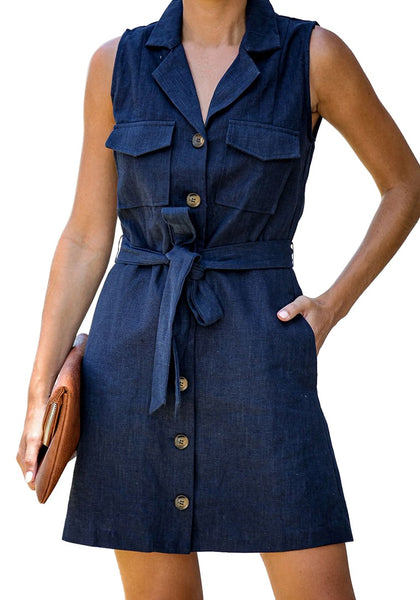 Front view of model wearing navy sleeveless lapel collar button-down belted dress