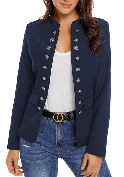 Front view of model wearing navy stand collar open-front blazer
