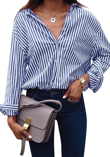 Front view of model wearing navy vertical striped long sleeves button-up top