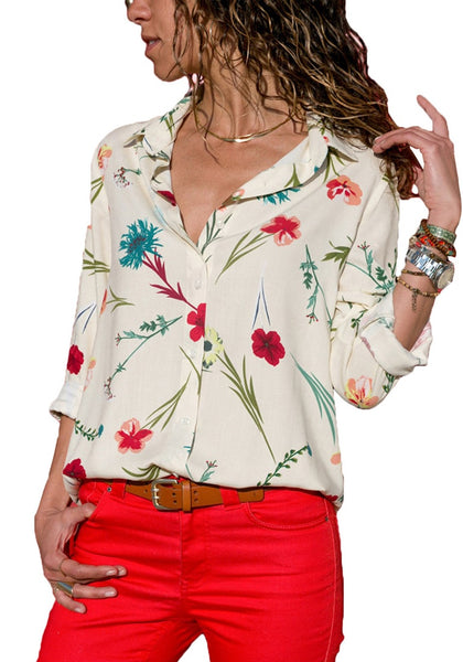 Front view of model wearing off-white floral long sleeves collared button-up top