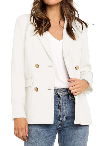 Front view of model wearing off white notch lapel double-breasted blazer