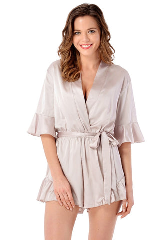 Off White Satin Wrap-Style Ruffled Romper