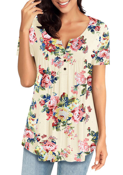Front view of model wearing off white short sleeves flowy floral henley tunic top