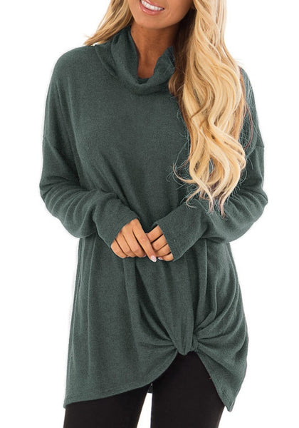 Front view of model wearing oilive green cowl neck side twist knot tunic top