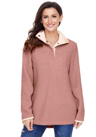 Old Rose Button-Front Fleece Pullover