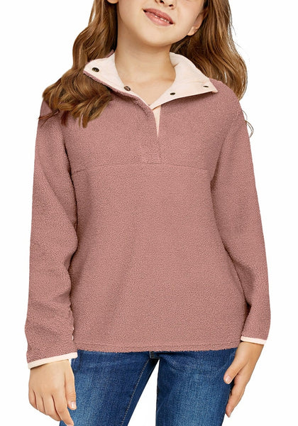 Front view of model wearing old rose button-front girl's fleece pullover