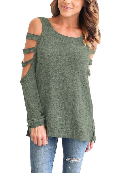 Front view of model wearing olive green cold-shoulder hollow-out blouse