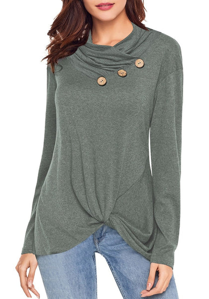 Front view of model wearing olive green cowl neck buttons twist-knot pullover