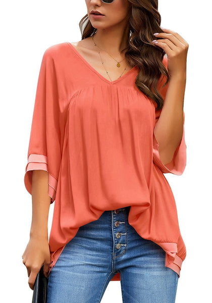 Orange V-Neck Bell Sleeves Layered Loose Tunic Top