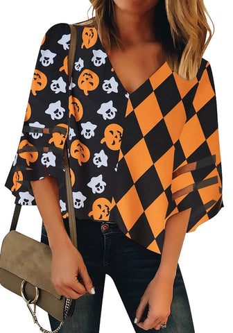 Orange Bell Mesh Panel Sleeves Halloween-Print Checkered Loose Top