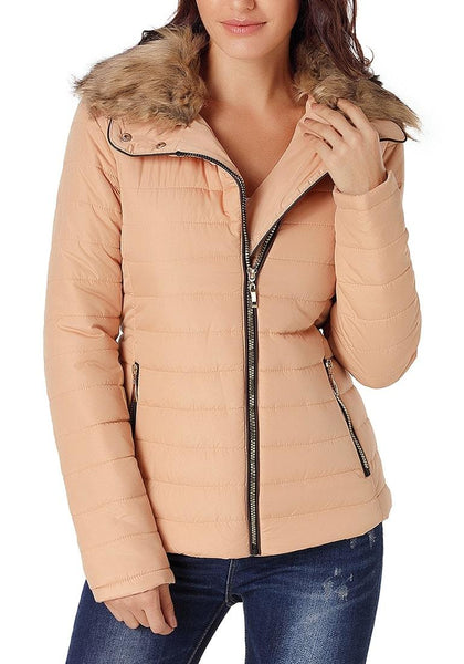 Front view of model wearing peach faux fur collar zip up quilted jacket