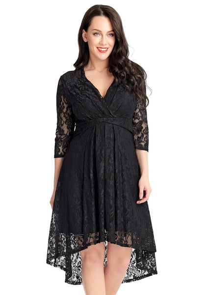 Plus Size Black Lace Overlay High Low Surplice Skater Dress