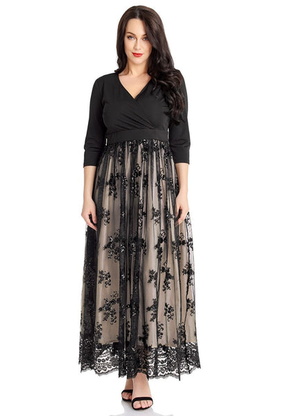 Plus Size Black Mesh Floral Sequin Maxi Dress | Lookbook Store