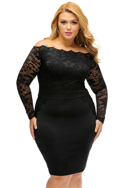 Front view of model wearing plus size black off-shoulder lace dress