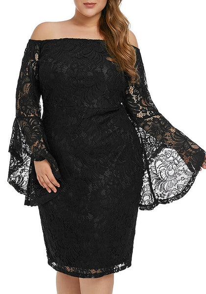 Plus Size Black Trumpet Sleeves Lace Off-Shoulder Pencil Dress