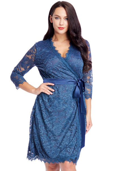 Front view of model wearing plus size blue lace crop sleeves wrap dress