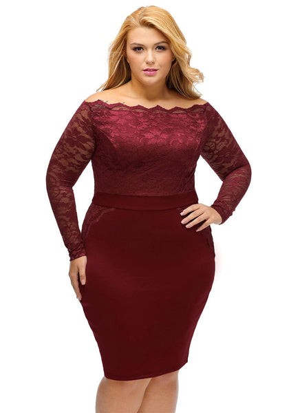Front view of model wearing plus size burgundy off-shoulder lace dress