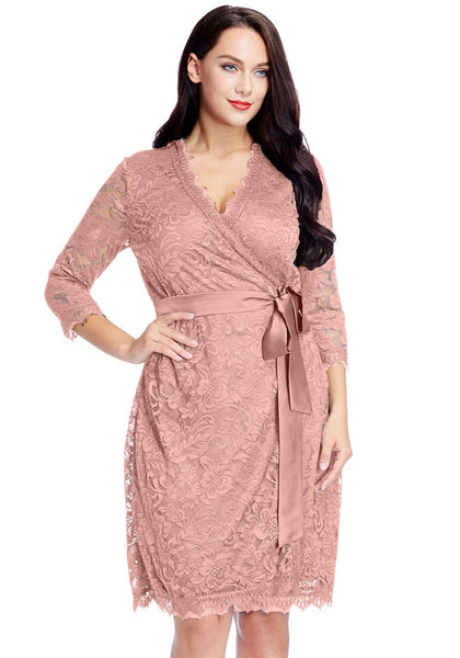 Front view of model wearing plus size dusty rose lace crop sleeves wrap dress