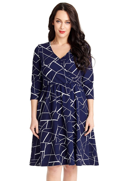 Front view of model wearing plus size navy geometric-print crop sleeves faux wrap dress