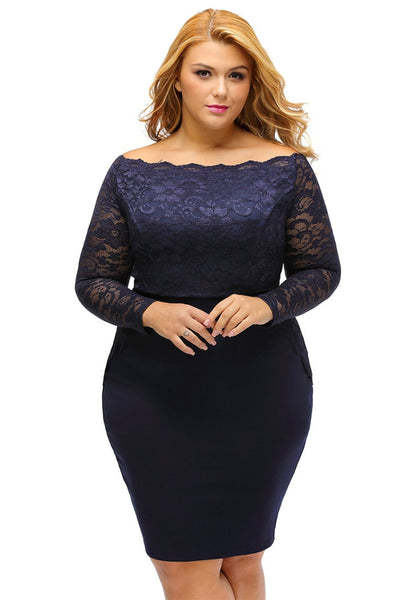 Front view of model wearing plus size navy off-shoulder lace dress