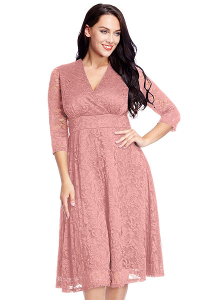 Front view of model wearing plus size old rose lace surplice midi dress