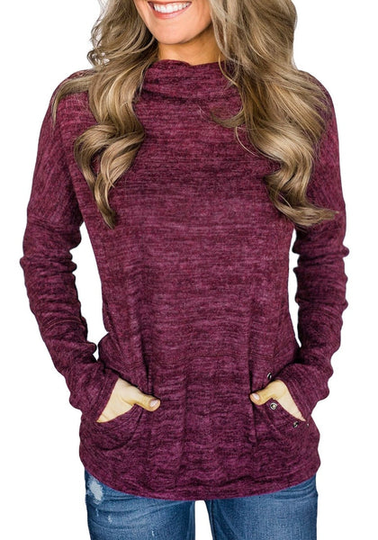 Front view of model wearing purple kangaroo pocket cowl-neck heathered pullover top