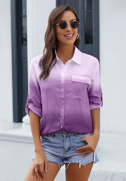 Front view of model wearing purple ombre long sleeves collared button-up shirt