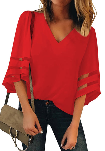 Front view of model wearing red 3/4 bell mesh panel sleeves V-neckline loose top