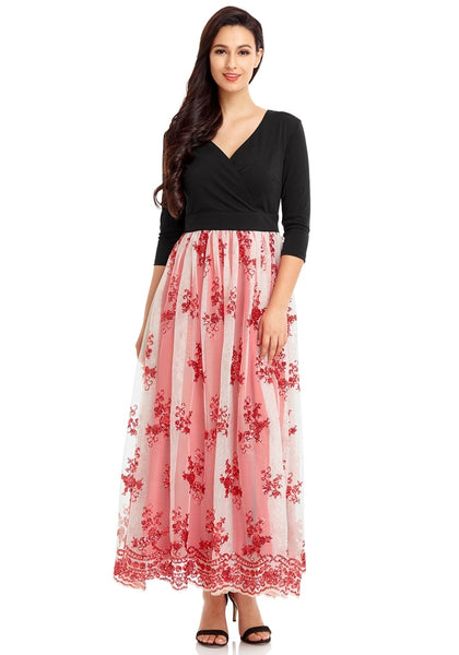 51ce1d9b940 ... Front view of model wearing red mesh floral sequin maxi dress ...
