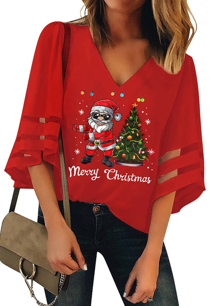 Front view of model wearing red mesh panel sleeves V-neckline Christmas-print loose top
