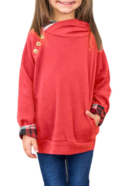 Front view of model wearing red oblique buttons double hood girl's pullover
