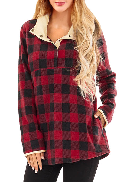 Front view of model wearing red plaid button-front fleece pullover