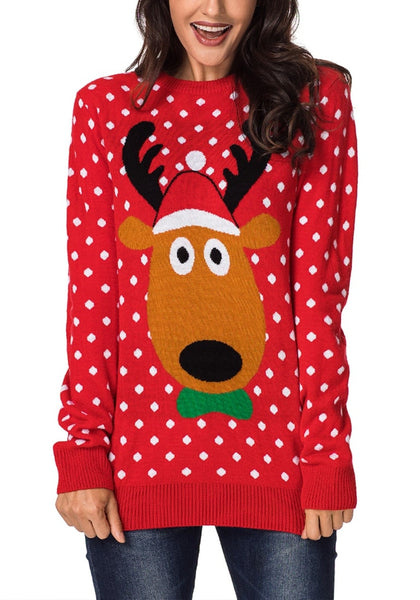 Front view of model wearing red reindeer polka dots ugly Christmas sweater