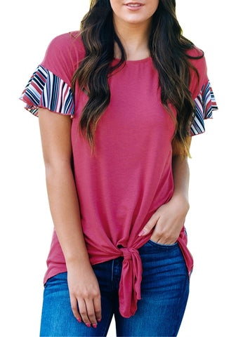 Rose Pink Ruffle Short Sleeves Tie-Front Blouse
