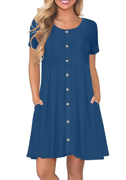 Front view of model wearing royal blue button-down short sleeves flowy swing dress