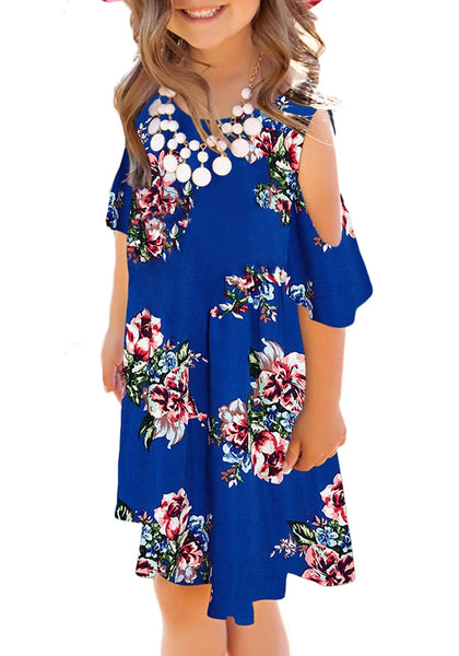 Front view of model wearing royal blue cold shoulder ruffle floral short sleeves girl tunic dress