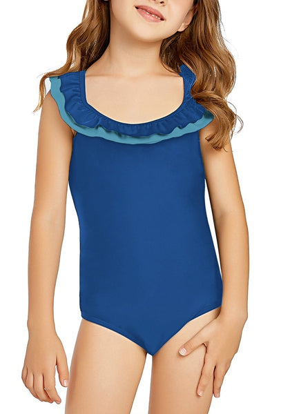 Front view of model wearing royal blue layered ruffle neckline one-piece girl swimsuit