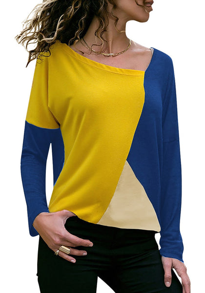 Front view of model wearing royal blue long sleeves color block tunic top