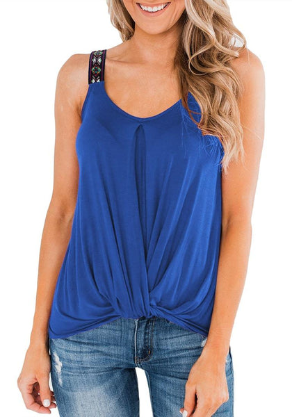 Front view of model wearing royal blue twist knot embroidered straps tank top