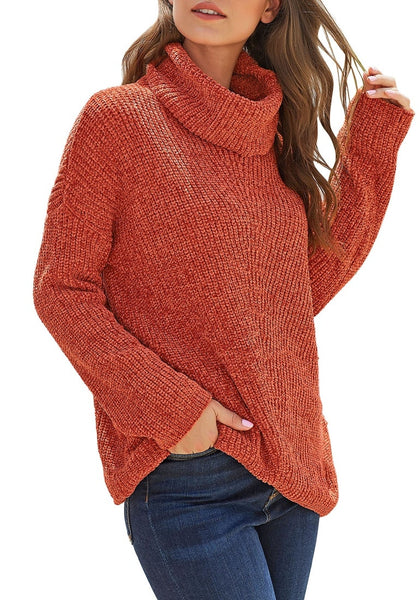 Front view of model wearing rust turtleneck velvet cable knit pullover sweater