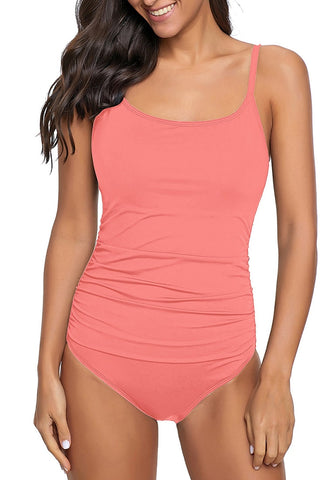 Salmon Pink Square-Neck Shirred One-Piece Swimsuit