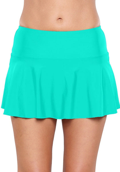 Solid Aqua Blue Flared Swim Skirt