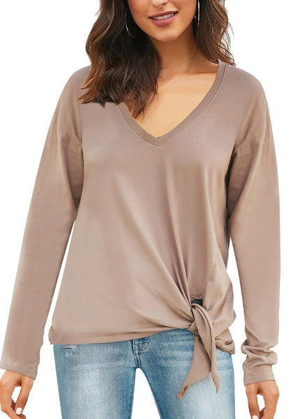 Front view of model wearing taupe V-neckline side-tie knot long sleeves loose top