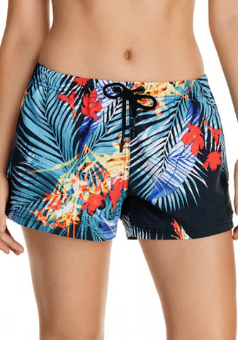 Tropical Print Drawstring Board Shorts