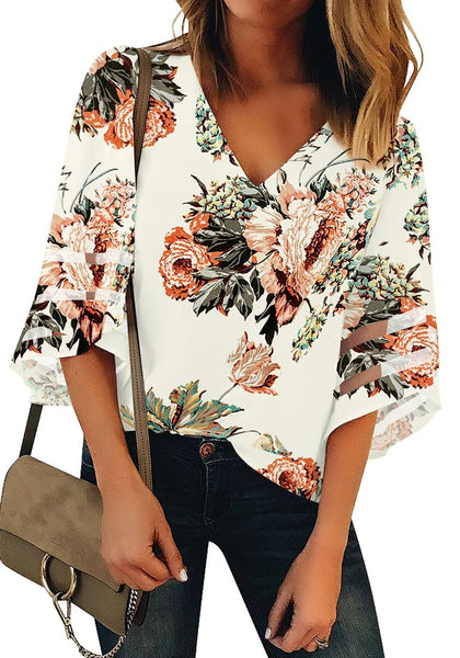 White 3/4 Bell Mesh Panel Sleeves V-Neckline Floral Top