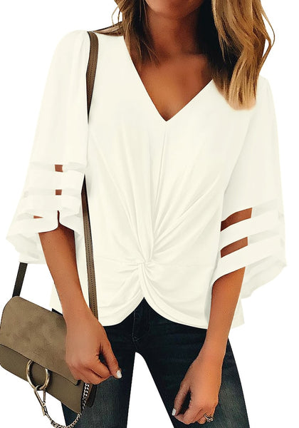 Front view of model wearing white 34 bell mesh panel sleeves V-neckline front twist knot loose top