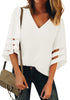 Front view of model wearing white 34 bell mesh panel sleeves V-neckline loose top